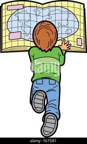 Boy Laying on the Floor Reading a Map - Stock Photo