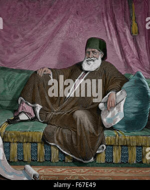 Muhammad Ali of Egypt (1769-1849). Ottoman Albanian commander in the Ottoman army. Color. - Stock Photo