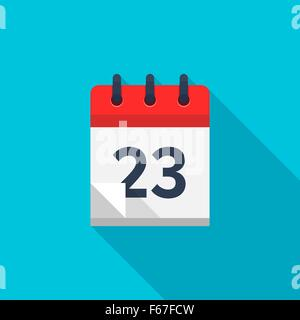 Flat calendar icon. Date and time background. Number 23 - Stock Photo