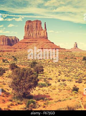 Retro old film style photo of Monument Valley, Utah, USA.