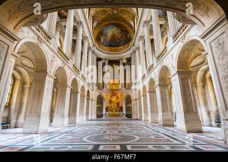 Chapel in Palace of Versailles, UNESCO World Heritage Site, Yvelines, Region Ile-de-France, France - Stock Photo