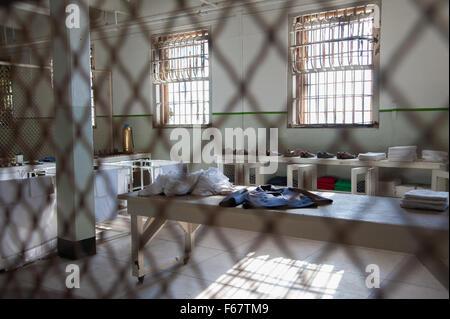 ALCATRAZ ISLAND, CA - NOV 6, 2015: Alcatraz Island in San Francisco, California. Prison cell interior and penitentiary. - Stock Photo