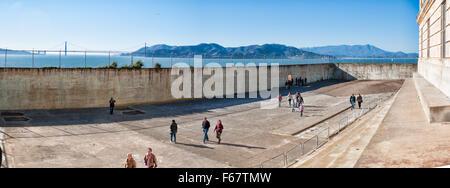ALCATRAZ ISLAND, CA - NOV 6, 2015: Alcatraz Federal Penitentiary's recreational yard in the San Francisco Bay, California. - Stock Photo