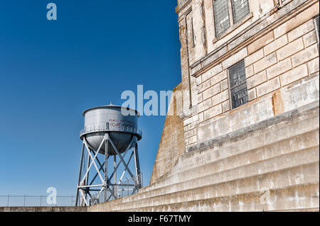 ALCATRAZ ISLAND, CA - NOV 6, 2015: Alcatraz Island's water tower. Alcatraz is known for Alcatraz Federal Penitentiary - Stock Photo
