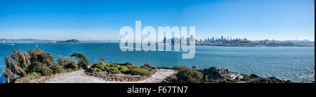 ALCATRAZ ISLAND, CA - NOV 6, 2015: Alcatraz Island is known for Alcatraz Federal Penitentiary and it is now a tourist - Stock Photo