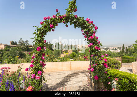 Panoramic view over the Alhambra from the gardens of the Generalife Palace, Alhambra, Granada, Andalucia, southern - Stock Photo