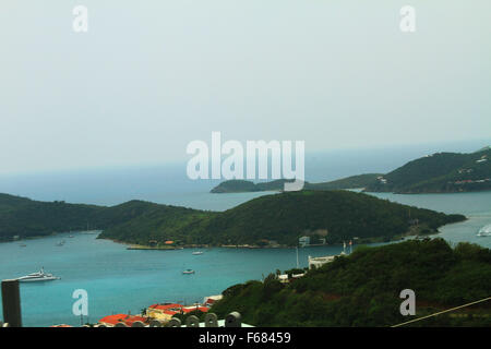 Charlotte Amalie port of call, view of the town and harbor, St Thomas island in the Caribbean US Virgin Islands - Stock Photo