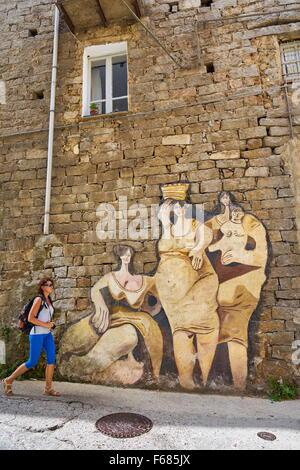 Murales in Orgosolo village, art wall painting, Sardinia, Italy - Stock Photo