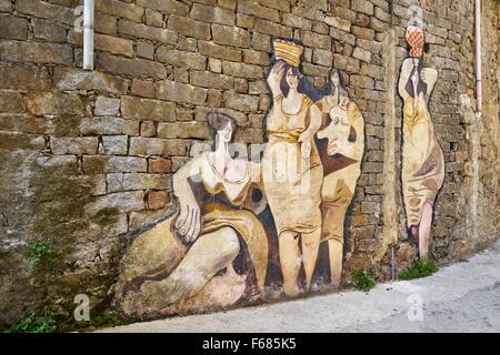 Sardinia, Italy, murales in Orgosolo Village, wall art painting - Stock Photo
