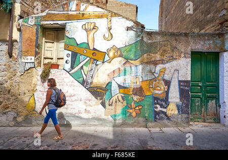 Murales in Orgosolo Village, street wall painting, Sardinia Island, Italy - Stock Photo