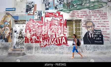 Murales in Orgosolo Village, street art wall painting, Sardinia, Italy - Stock Photo