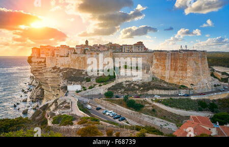 Sunset over Bonifacio, Corsica Island, France - Stock Photo