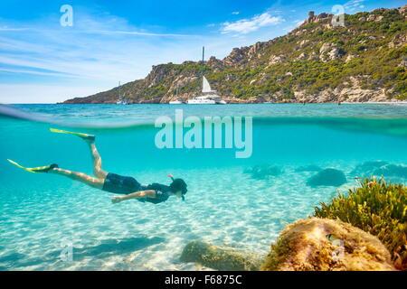 Roccapina Beach, Corsica Island, France - Stock Photo