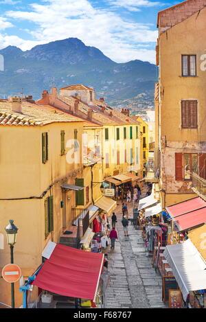 Calvi Old Town, Balagne, West Coast, Corsica Island, France - Stock Photo