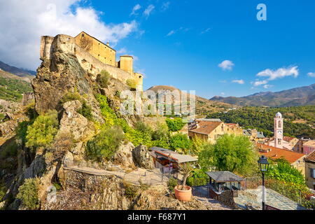Corte, the Citadel in the Old Town, Corsica Island, France - Stock Photo