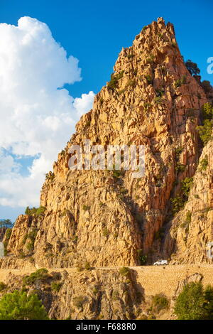 Corsica Island - Les Calanches, volcanic red rocks formations mountains, Golfe de Porto, Piana, France, UNESCO - Stock Photo
