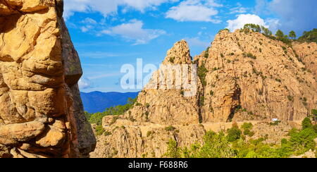 Volcanic red rocks formations mountains, Les Calanches, Piana, Corsica Island, France, UNESCO - Stock Photo