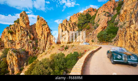 Mountains road through the Calanches de Piana, Golfe de Porto, Corsica Island, France, UNESCO - Stock Photo