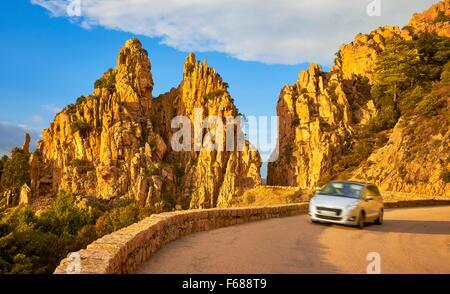 Mountains road in Calanches de Piana, Golfe de Porto, Corsica Island, France, UNESCO - Stock Photo