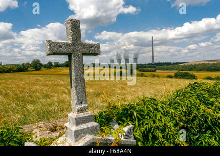Coal power plant in countryside, Chvaletice, East Bohemia, Czech Republic - Stock Photo