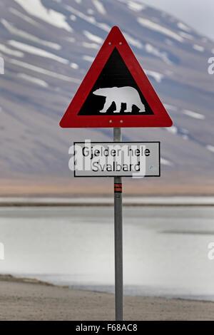 Polar bear warning sign, Longyearbyen, Spitsbergen Island, Svalbard Archipelago, Svalbard and Jan Mayen, Norway, - Stock Photo