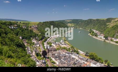 Upper Middle Rhine Valley near St. Goar, Germany - Stock Photo