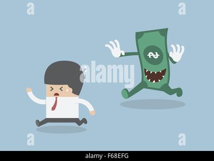 Businessman running away from the money monster, VECTOR, EPS10 - Stock Photo