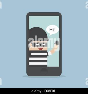 Hacker, Thief Hacking Smartphone, Business concept, VECTOR, EPS10 - Stock Photo