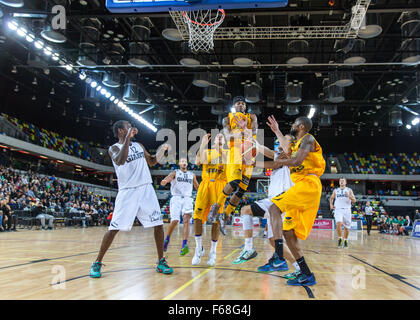 Olympic Park, London, UK, 13th November, 2015. Lions' no 11 Nick Lewis at the basket. Lions win 85-60. copyright - Stock Photo