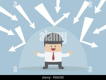 Businessman protected from the bad thing by the invisible shield, VECTOR, EPS10 - Stock Photo