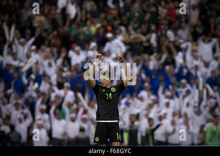 Mexico City, Mexico. 13th Nov, 2015. Javier Hernandez of Mexico reacts during the 2018 Russia World Cup qualifying - Stock Photo