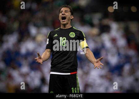 Mexico City, Mexico. 13th Nov, 2015. Andres Guardado of Mexico reacts during the 2018 Russia World Cup qualifying - Stock Photo