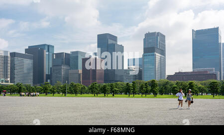 Skyscrapers in Tokyo, Japan as seen from the Imperial Palace - Stock Photo