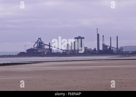 Redcar steelworks seen from Tees Mouth Cleveland UK - Stock Photo