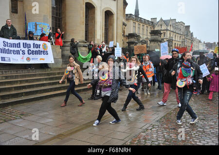 Oxford, UK. 14th November, 2015. Save Our Children's Centres protest march through Oxford to protest at the proposed - Stock Photo