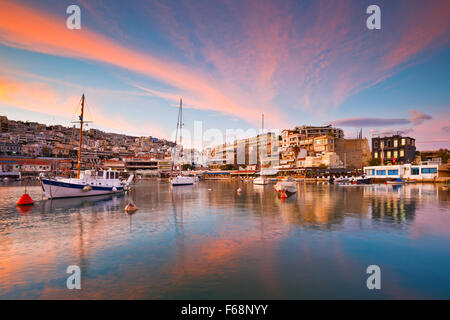 Boats anchored in Mikrolimano marina in Athens, Greece - Stock Photo