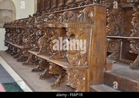 Carved wooden Stalls,  St, Maria Della Consolazione, Altomonte, Cosenza Province;Calabria, Italy, Europe. - Stock Photo