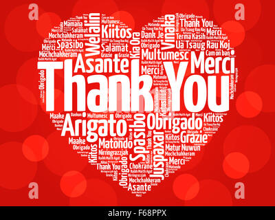 Thank You in many languages, love heart concept - Stock Photo