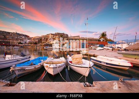 Boats mooring in Mikrolimano marina in Athens, Greece - Stock Photo