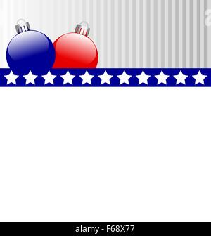 Christmas balls in US colors - Stock Photo