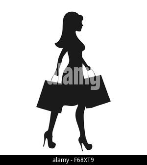 Black Icon Shopping Woman Silhouette with Bags Isolated on White - Stock Photo