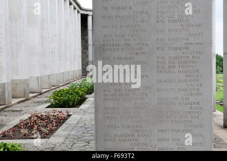 Names of soldiers from the British Indian Army on the Rangoon Memorial at Taukkyan War Cemetery near Yangon, Myanmar. - Stock Photo