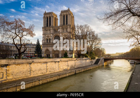 Notre Dame de Paris Cathedral and Seine River on a soft winter morning light. Ile de la Cite, 4th arrondissement, - Stock Photo