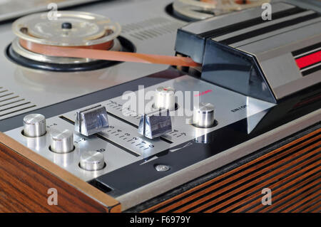 Close up photo of old reel to reel tape player - Stock Photo