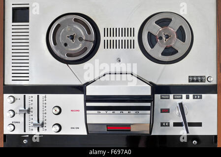 Photo of old reel to reel tape player - Stock Photo