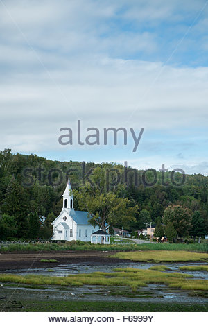 Church and Wetlands, Saint-Joseph-de-la-Rive / Charlevoix, Quebec, Canada - Stock Photo
