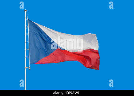 Flag of Czech Republic on pole, with text space around it - Stock Photo
