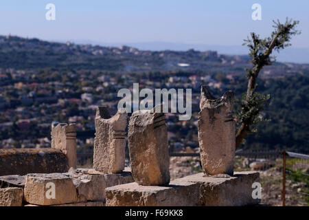 Old Muslim tombstones near the Tomb of Sheikh Shiha in a hilltop over the mixed Jewish Arab city of  Maalot-Tarshiha - Stock Photo