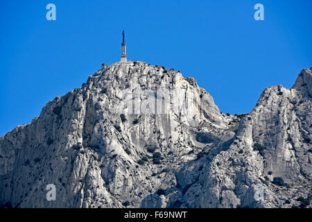 Provence France The Cross of Provence at the top of the Saint Victoire mountain famous subject of paintings by Paul - Stock Photo