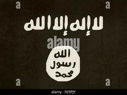 The Islamic State of Iraq and the Levant, also known as the Islamic State of Iraq and Syria (ISIS) flag. - Stock Photo